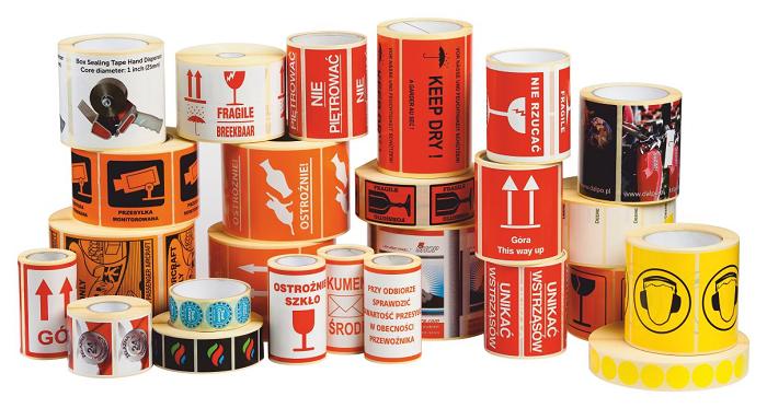 Selbstklebende Etiketten auf Rollen mit standardisiertem Aufdruck